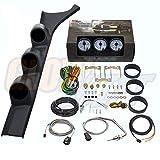 GlowShift Diesel Gauge Package for 1986-1993 Dodge Ram Cummins First 1st Gen - White 7 Color 60 PSI Boost, 1500 F Pyrometer EGT & Transmission Temp Gauges - Black Triple Pillar Pod