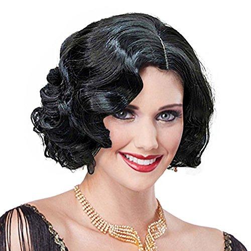 ge Short Curly Flapper Wavy Wigs Adult Women Ladies Party Hair (Black) ()