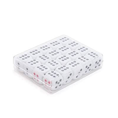 THY COLLECTIBLES 12mm White Dice with Black & Red Pips Dots for Board Games, Poker Card Games, Activity, Casino Theme, Party Favors (20 Pcs Pack): Toys & Games