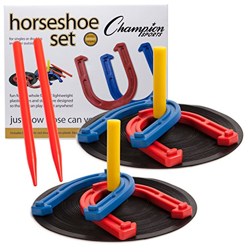 Champion Sports Rubber Horseshoe Game for Tailgating, Camping, Backyard and Gym