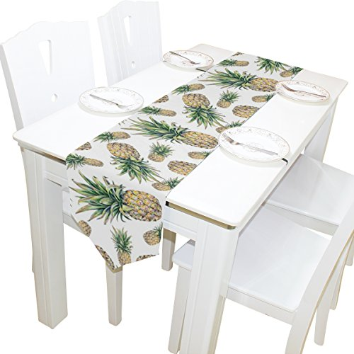 Yochoice Table Runner Home Decor, Vintage Tropical Pineapple Fruit Table Cloth Runner Coffee Mat for Wedding Party Banquet Decoration 13 x 70 -