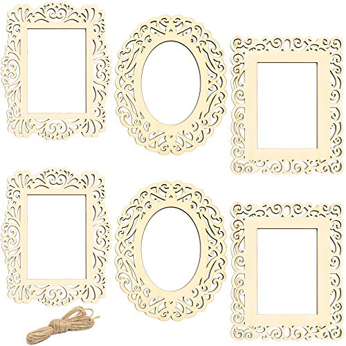 Bright Creations Unfinished Wood Frame Cutout Set (3 Designs, 6 Pack) from Bright Creations