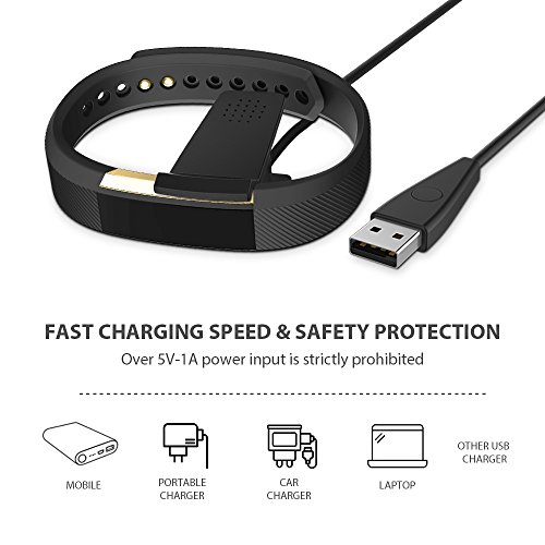 Fitbit Alta Charger——Hagibis Black Replacement Usb Charger Cable For Smart Watch Fitbit alta Band Carry the Restart Button