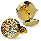 Dich Creat Men's Gold PVD Stainless Steel Working Movement Cufflinks Covered with Glass