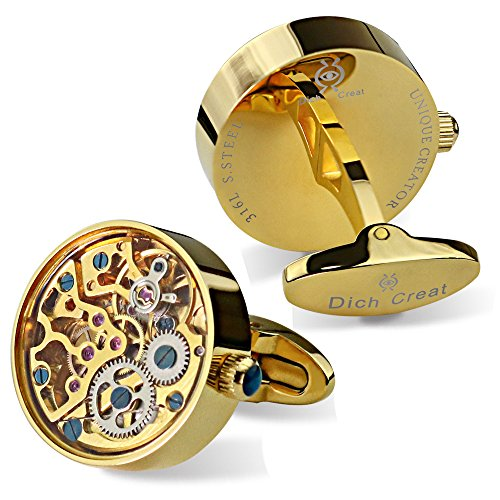 Dich Creat Men's Gold PVD Stainless Steel Working Movement Cufflinks Covered with Glass by Dich Creat