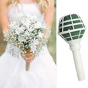 6 PCS Bouquet Holders with Foam DIY Handle Bridal Floral Wedding Flower Holder for Fresh Flowers Silk Flowers 5