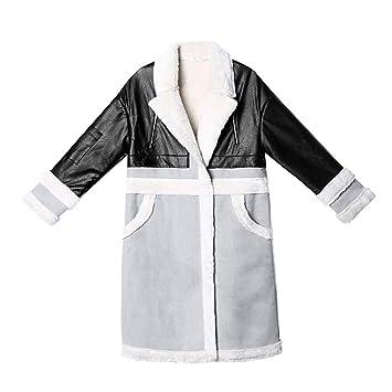 DWYJ Gabardina Para Mujer Abrigo de Costura Gruesa y de Terciopelo en la Chaqueta Cortavientos Chaqueta