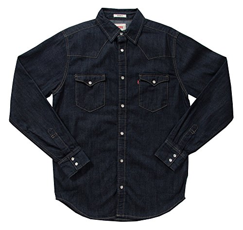 - Levi's Men's Barstow Western Pearl Snap Front Denim Shirt (Large, Dark Rinse)