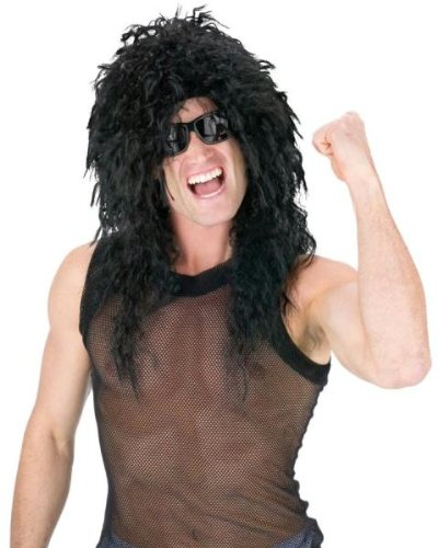Black Headbanger Wig - Fun World Adult's Head Banger Wig Costume Accessory, black standard