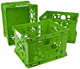 Storex Premium File Crate with Handles, 17.25 x 14.25 x 10.5'', Classroom Green, Case of 3 (61458U03C)