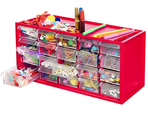 Arts & Crafts Supply Center Complete with 20 Filled Drawers of Craft (Craft Jar)
