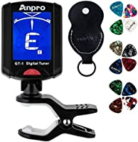 Anpro GT-1 Tuner Guitar Tuner 360 Degrees Rotation Digital Stamp Screen LCD 12PCS Picks with Pouch for Violin, Ukulele...
