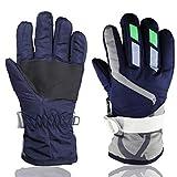 Children Ski Waterproof Gloves Winter Warm Outdoor Riding Thickening Gloves YR.Lover, Navy Blue, One Size