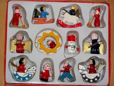 12 Teiliges Baumschmuck Set Holzfiguren Fur Den Weihnachtsbaum