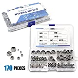 FAS INDUSTRY Nylock Nuts Assortment Kit 170 Pieces, 304 Stainless Steel M3 M4 M5 M6 M8 M10 M12 Hex Nylon Lock Nuts, Nylon Insert Locknut Hardware Sets