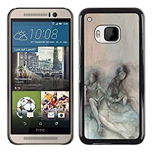 Paccase / SLIM PC / Aliminium Casa Carcasa Funda Case Cover - Somber Teal Couple Depression - HTC One M9