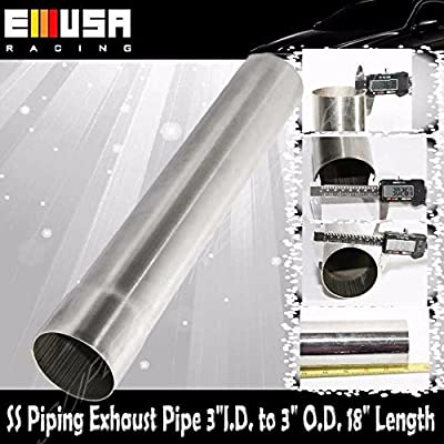 "Tailpipe Exhaust Pipe 3"" O.D. to 3"" I.D. 18"" Length Stainless Steel: Automotive"