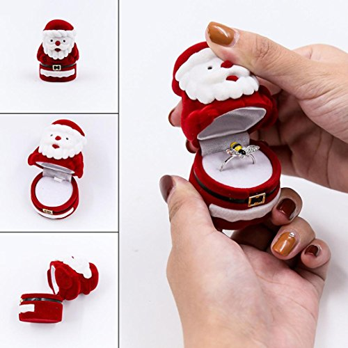 Santa Music Box Claus (Lavany Durable Gifts Case Jewelry Necklace Earring Ring Box Santa Claus (Red))