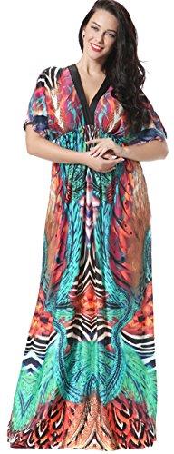 Jusfitsu Women's Boho Long Maxi Dress Bat Sleeve Sundress Plus Size Dresses – 6X Plus, Red