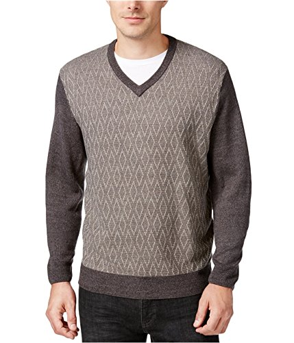 Weatherproof Men's Colorblock Diamond V-Neck Sweater XL Dark ()