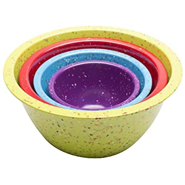 Zak Designs Confetti Nested Mixing Bowls, Kiwi Assorted Brights, Set of 4