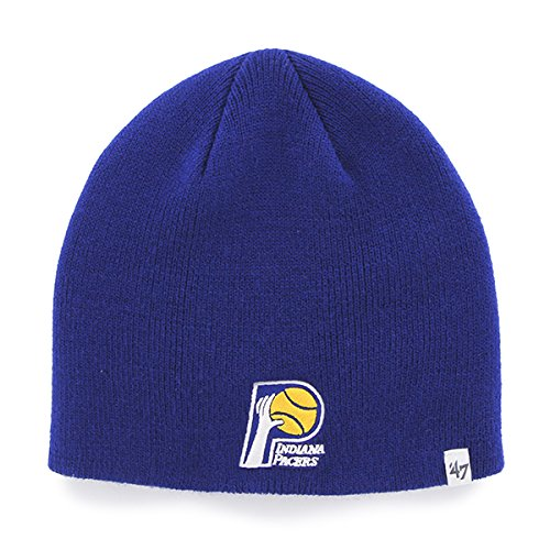 '47 Indiana Pacers Royal Blue Skull Cap - NBA Cuffless Winter Knit Toque Beanie - Winter Cap Royal Skull