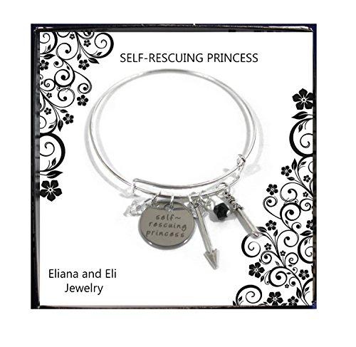 Disney Self-Rescuing Princess Wire Bracelet- Self Rescuing Strong Confident Empowering Women Girls Princess Jewlery- for Girlfriend Daughter Wife- Princess Arrow Sword Beads Pendant Charm Bracelet