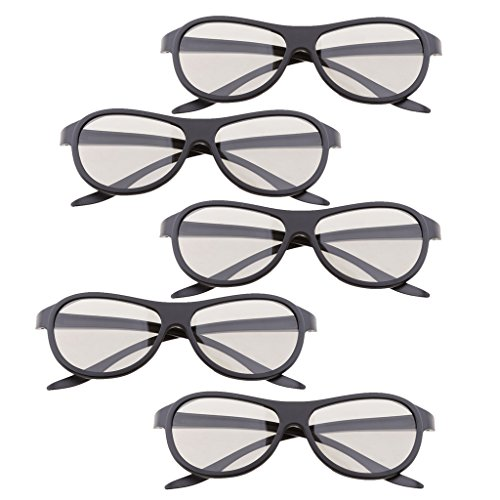 MagiDeal 5 Pairs of Universal Passive 3D Glasses for All Passive 3D TVs Cinema and Projectors Such as for RealD Toshiba Panasonic Sony TVs Monitor