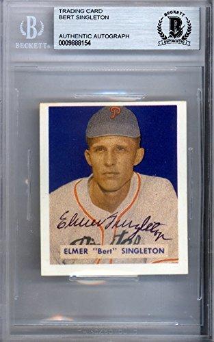 Elmer Bert Singleton Signed Autograph 1949 Bowman Reprint Card #147 Pittsburgh Pirates - Beckett BAS Certified - Singleton Signed