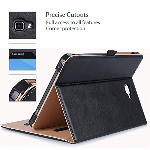 ProCase Samsung Galaxy Tab A 10.1 Case - Stand Folio Case Cover for Galaxy Tab A 10.1'' Tablet SM-T580 T585 T587 (NO S Pen Version), with Multiple Viewing Angles, Document Card Pocket - Black by ProCase (Image #4)