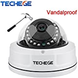 Techege H.265 4MP IP Camera Dome Camera P2P Onvif Security Camera 25921520 Vandalproof Alarm Email Night Vision Network Camera (960P/3.6mm)