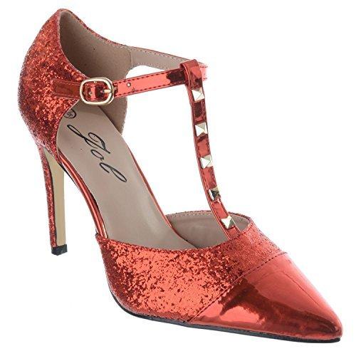 Miss Image UK Womens Damen High Heels T- Schnalle Stecker Spitz Zulaufend Knöchelriemen Schuhe mit Nieten Sandalen Größe Rot Glitter/metallisch