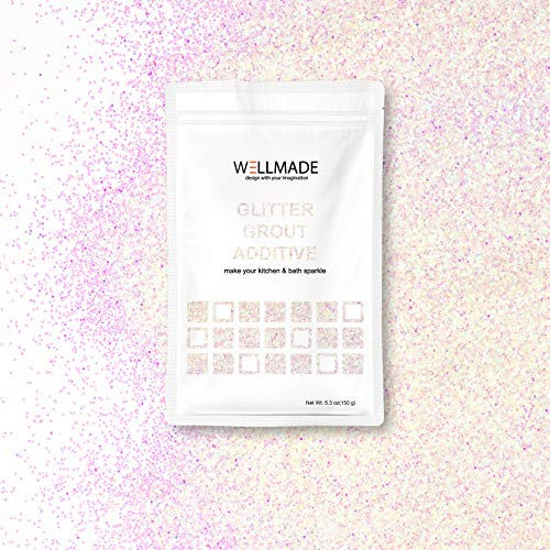 (Glitter Grout Tile Additive 150g/5.3oz Glitter for Wall/Floor Tile Grout-DIY Home Wet Room Bathroom Kitchen Sparkle, Add/Mix with Epoxy Resin or Cement Based Grout (150g/5.3oz, Mother of Pearl))