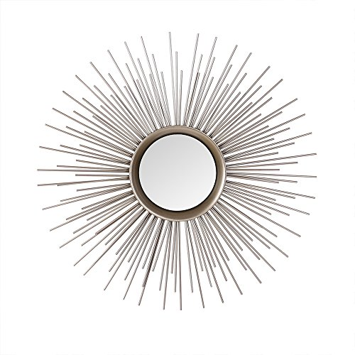 Adeco Home Collection Sunburst Mirror, Classic Metal Decorative Wall Mirror - 25.2 x 25.2 Inches