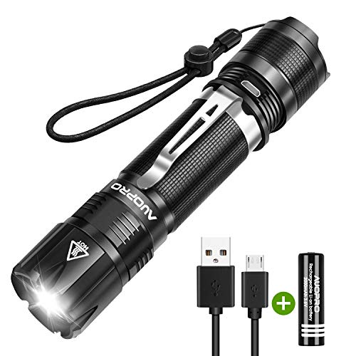 AUOPRO Rechargeable Flashlight 800 Lumens, Ultra Bright Tactical Flashlight Small Torch Light, CREE LED Taclight, IPX7 Water Resistant, 5 Modes for Camping, Outdoor Emergency Lighting
