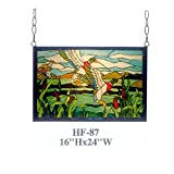 HF-87 Tiffany Style Stained Glass Swan Reed Pond Window Hanging Glass Panel Sun Catcher, 16''Hx24''W