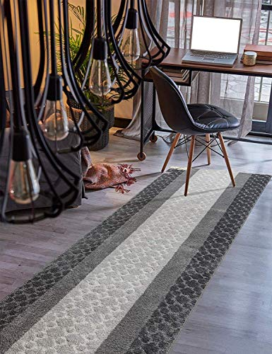 (Custom Size Hallway Runner Rug Grey Color 31 inch Wide Select Your Length Non-Slip (Skid Resistance) Rubber Backing 12 feet x 31)