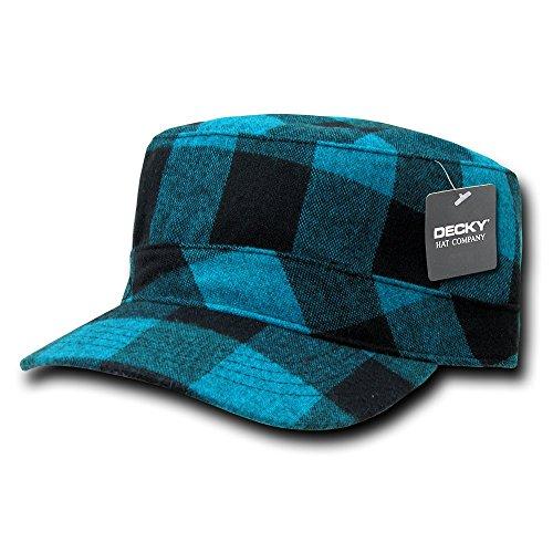 DECKY Flannel Flat Top Cap, Teal ()