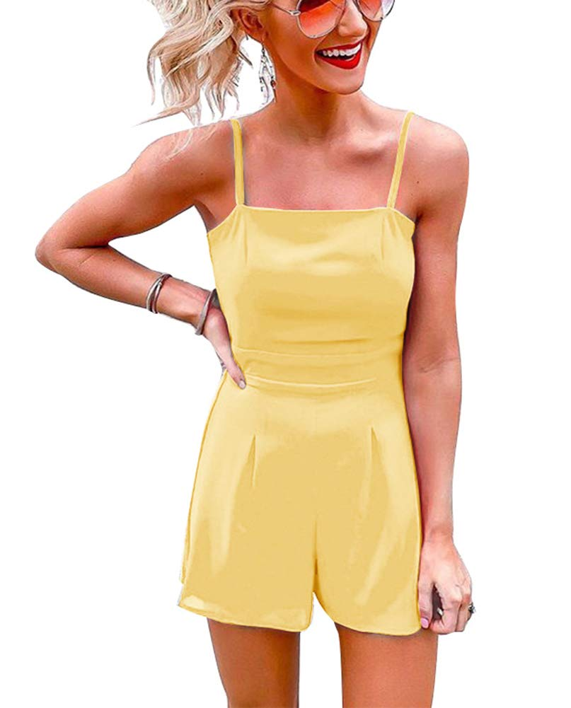 Women\'s Cute Knot Spaghetti Strap Solid Color Chiffon Sleeveless Short Pants Romper Jumpsuit Yellow M