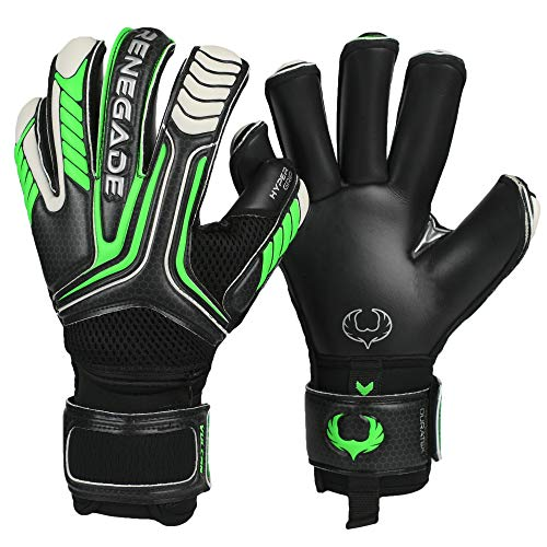 Renegade GK Vulcan Abyss Roll Cut Level 3 Adult & Youth Goalkeeper Gloves Kids with Fingersaves - Size 6 Goalie Gloves - Youth Soccer Goalie Gloves - Goal Keeper Gloves Kids - Black & Green