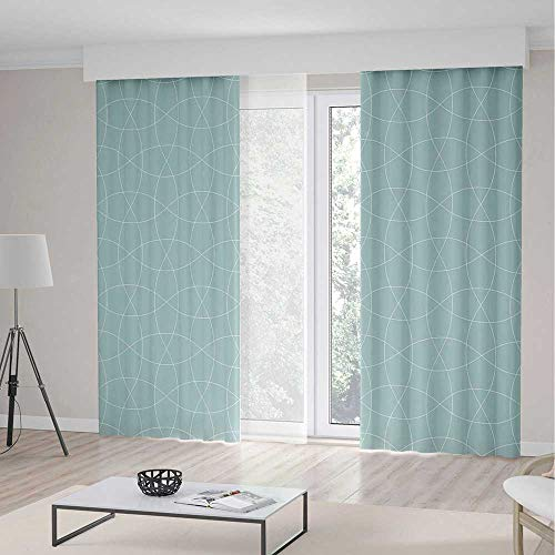 Blackout Curtains,Teal and White,Theme Home Decor Dining Room Bedroom Curtains for Kids Room Window Treatments,Traditional Arabic Tangled Lattice Pattern Oriental Eastern Ornament Decorative,2 Panel - 98 Inch Curtains Teal