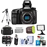 Sony Alpha a68 Digital SLR Camera Body - Bundle With Camera Case, 32GB SDHC U3 Card, Spare Battery, Tripod, Video Light, Cleaning Kit, Memory Wallet, Card Reader, Software Package