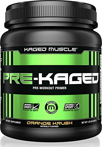 KAGED MUSCLE, PRE-KAGED Pre Workout Powder, Orange Krush, L-Citrulline + Creatine HCl, Boost Energy, Focus, Workout Intensity, Pre-Workout, Orange Krush, 588 ()