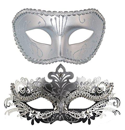 [Couple Masquerade Mask Venetian Halloween Costume Mask Mardi Gras Mask] (Couple Masquerade Masks)