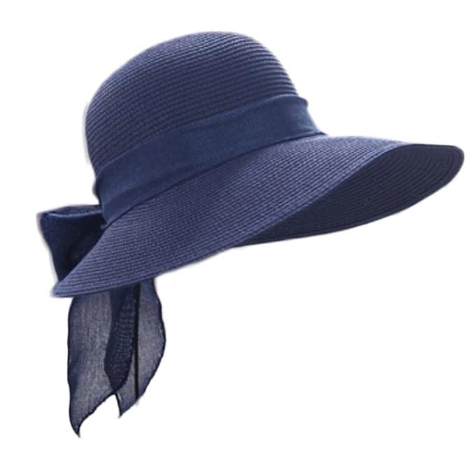 Gespout Cappelli Donna Eleganti Protezione UV Cappello da SoleBerretto da Spiaggia  Tesa Larga Cappello di Paglia Nodo a Farfalla Topper Cappellini con ... 0b327cc53bcd