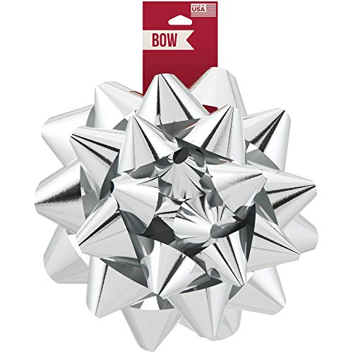 Berwick Offray Large Silver Christmas Bow, 8.5
