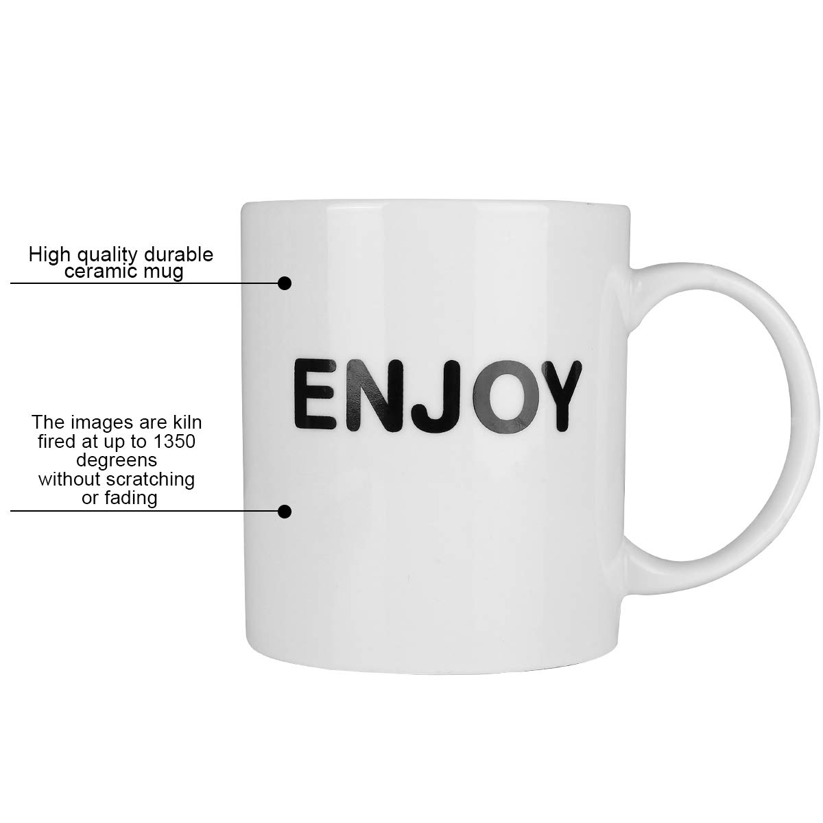 HANHAOPEAK Coffee Mug, 11oz Funny Coffee Mug: Enjoy, Unique Ceramic Novelty Holiday Christmas Hanukkah Gift for Men and Women Who Love Tea Mugs Coffee Cups, Suitable for Office and Home by HANHAOPEAK (Image #2)
