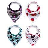 Baby Bandana Drool and Dribble Bibs for Boys and for Girls - (Set of 4, Gift Set) - Best for Babies Drooling, Teething and Feeding (design 7)