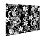 Ashley Giclee Hibiscus Pattern, Wall Art Photo Print On Metal Panel, Black & White, 16x20, Floating Frame, AG1538885