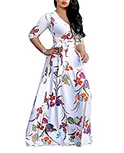 shekiss Women's Sexy V Neck Floral Long Sleeves Maxi Dresses Casual Loose Party Prom Ladies Outfits